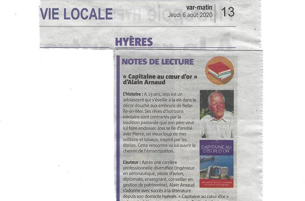 Article de Var Matin du journaliste Sylvain MOUHOT