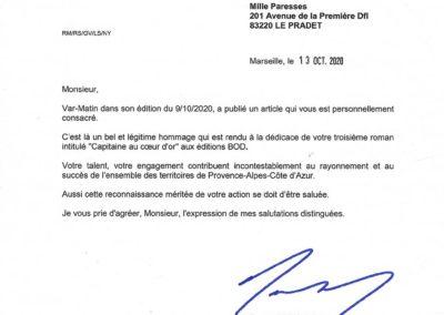 Renaud MUSELIER, Président de la Région PACA (extrait d'une lettre personnelle du 13/10/2020)