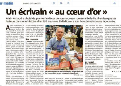 Article des journalistes Alain Bédrane et Bélinda Gaianem-Cunat paru dans VAR-MATIN le 26-02-2021